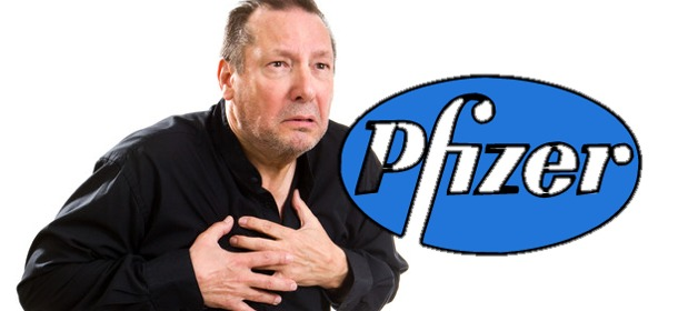 Pfizer Logo Over Man Having Heart Attack