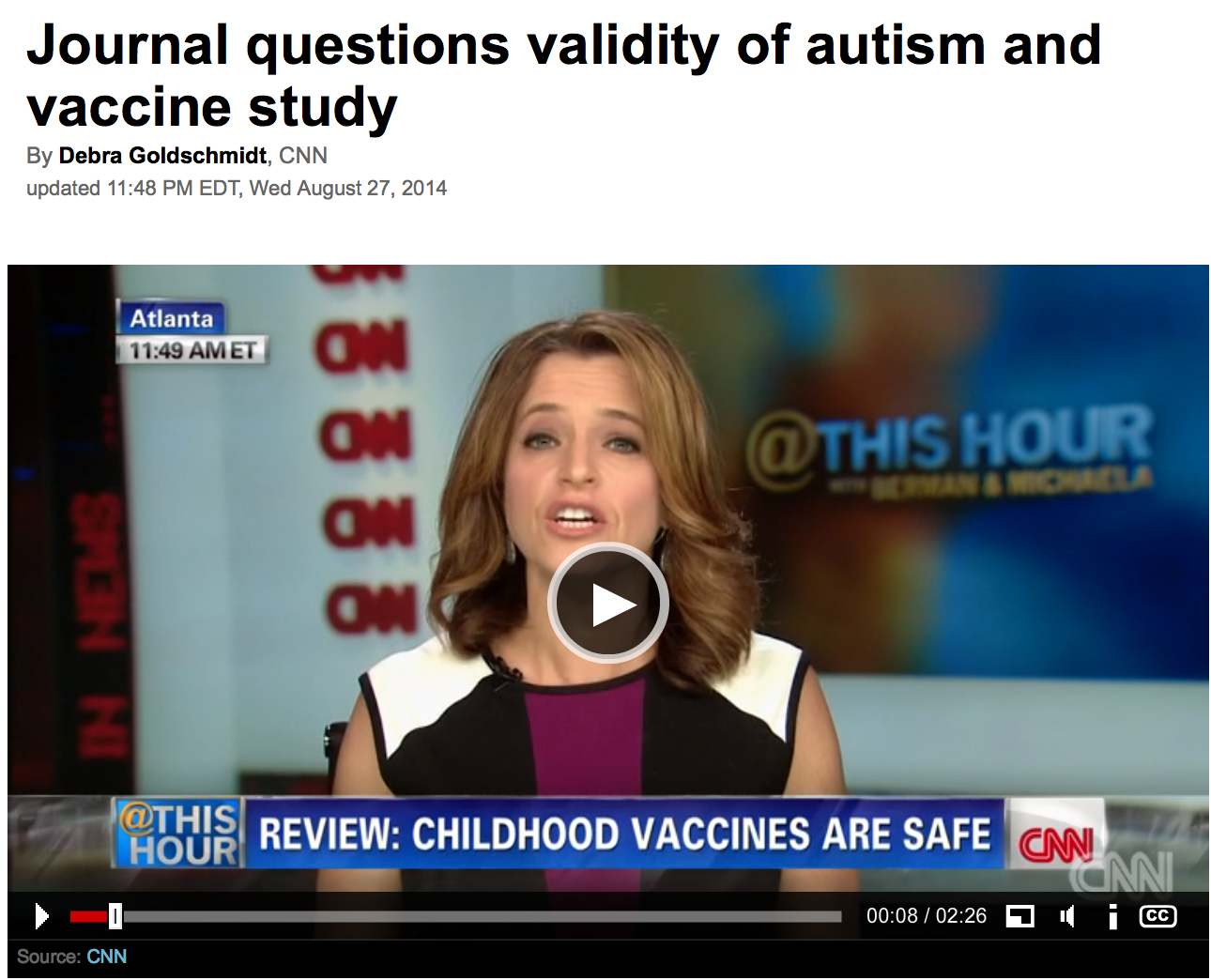 CNN Publishes Psyops Story Denying Vaccine-Autism Link