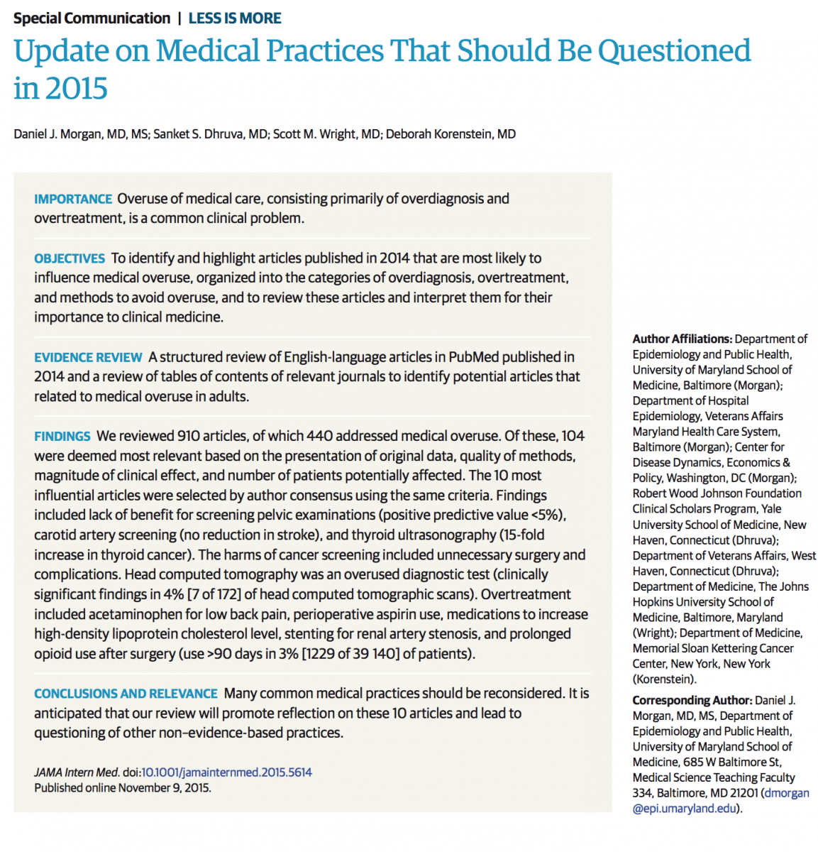 No Evidence Backing Millions of Diagnoses & Treatments, JAMA Review Finds